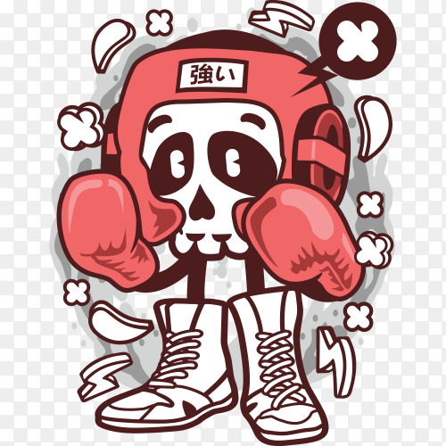 Boxing skull cartoon character on transparent background PNG