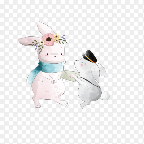 Bunny receives a letter on transparent background PNG