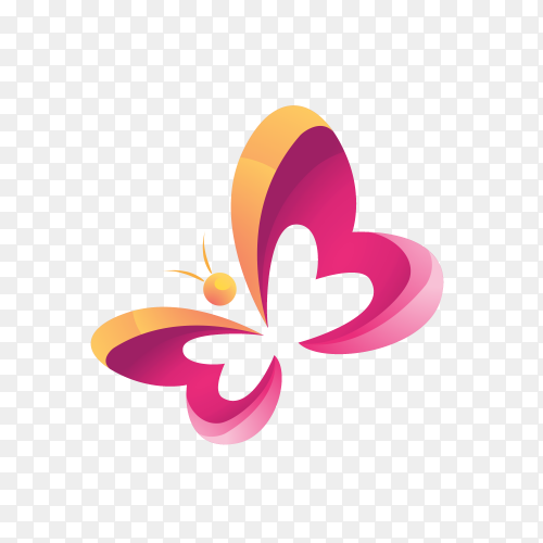 Butterfly logo icon on transparent background PNG