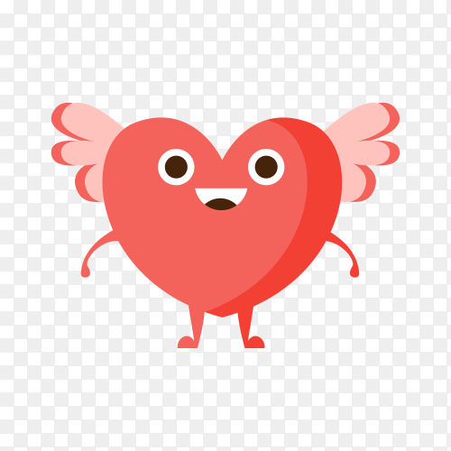 Love And Winged Heart ,Cartoon Character Emoji With Eyes illustration on transparent background PNG