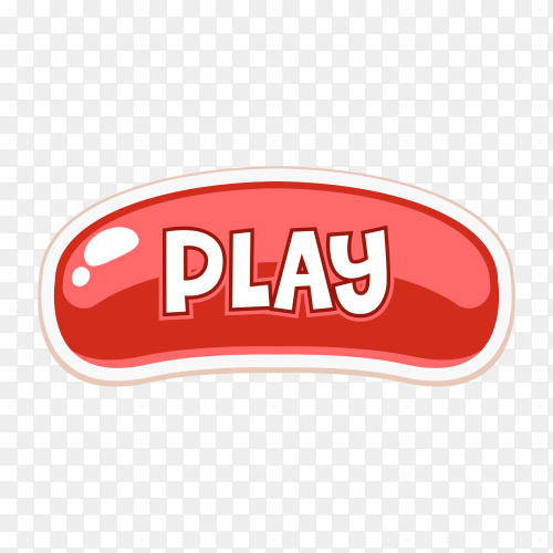 Cartoon Play button icon on transparent background PNG