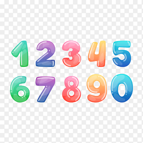 Cartoon balloon numbers for birthday fun kids party celebration invitation card on transparent background PNG