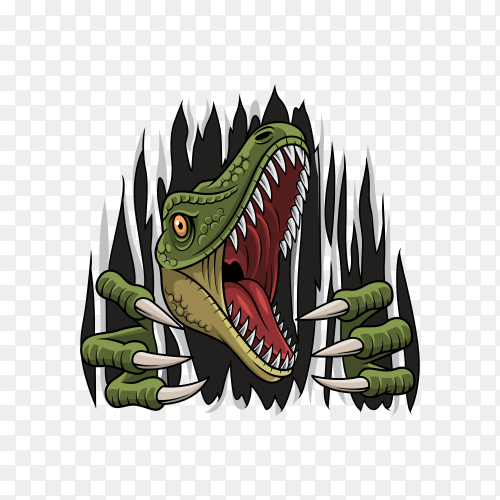 Cartoon dinosaur mascot ripping on transparent background PNG