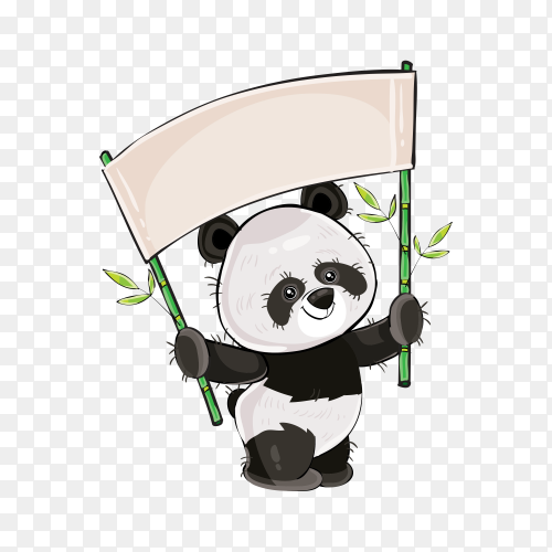 Cartoon panda holding white banner on transparent background PNG