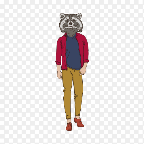 Cartoon raccoon hipster on transparent background PNG