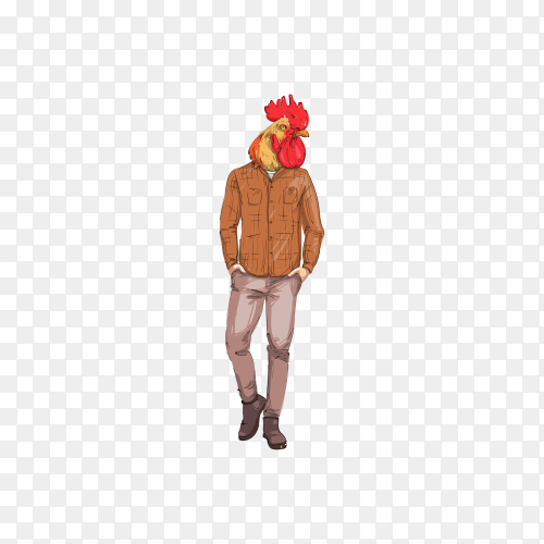 Cartoon rooster hipster on transparent background PNG
