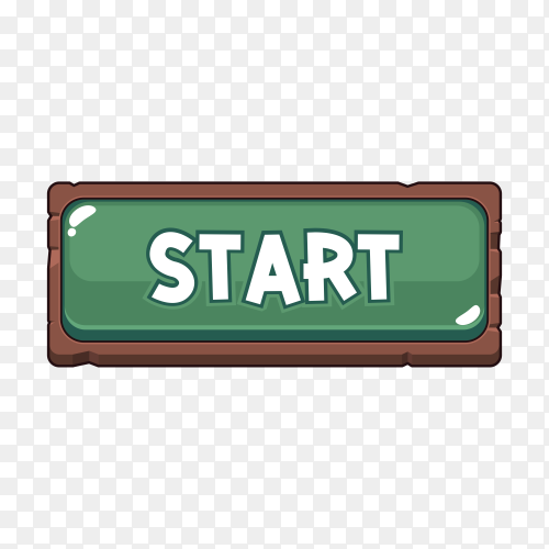 Cartoon start button icon on transparent background PNG
