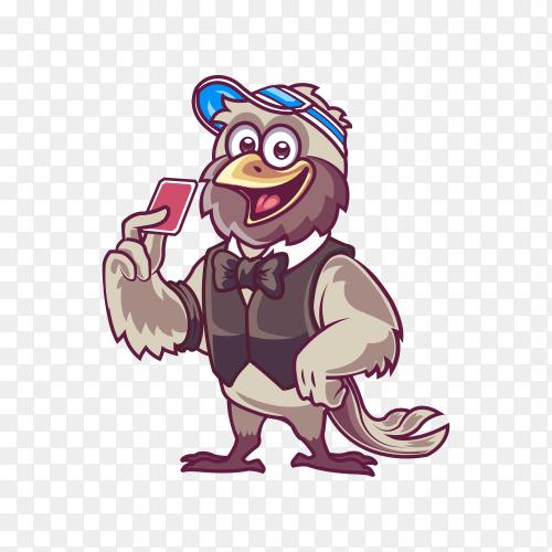 Casino card trader bird cartoon mascot on transparent background PNG