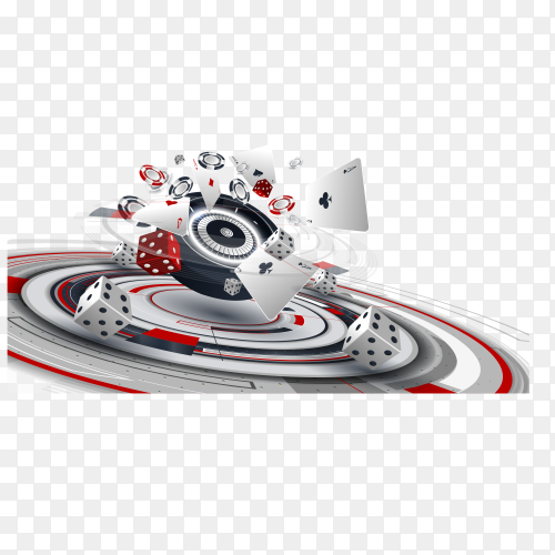 Casino design elements with roulette wheel, chips, craps and playing cards on transparent background PNG