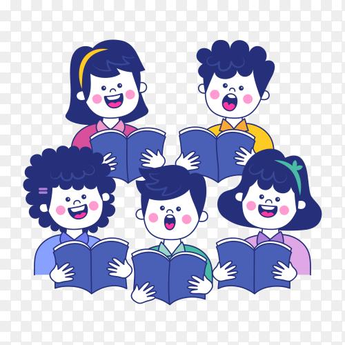 Children choir illustration on transparent background PNG