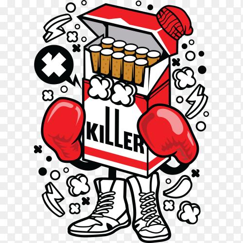 Cigarette boxer cartoon on transparent background PNG