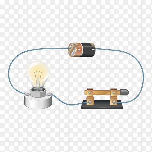 Circuit diagram with battery and light bulb on transparent background PNG