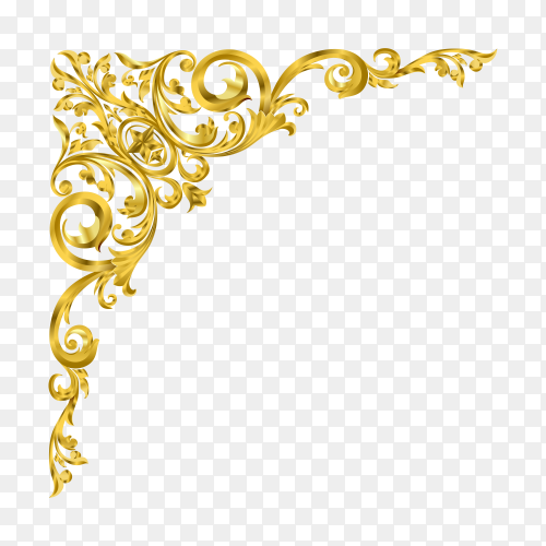 Classical golden decorative element in baroque style on transparent background PNG