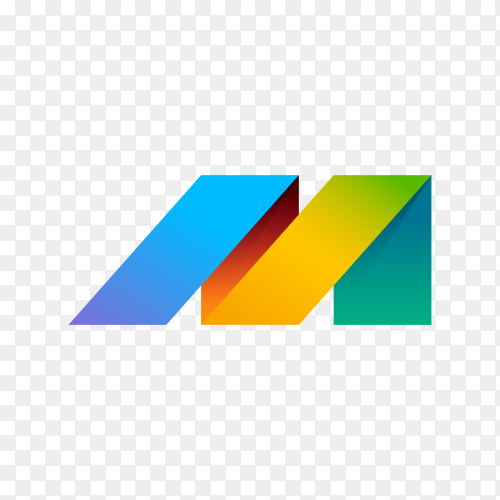 Colorful Letter M logo design on transparent background PNG
