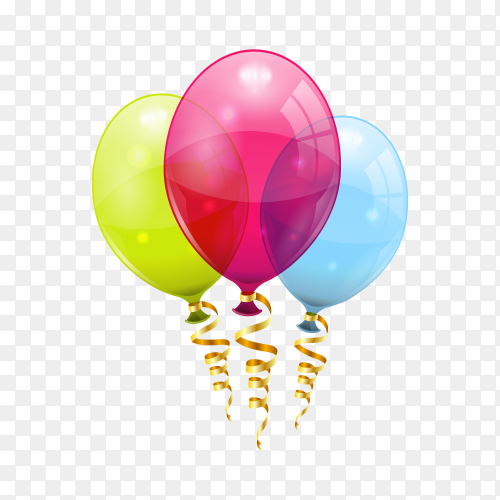 Colorful birthday balloons with gold ribbon on transparent background PNG