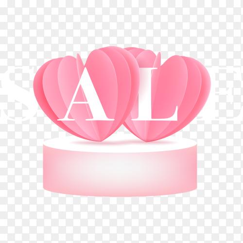 Creative valentines sale banner on transparent background PNG