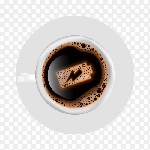 Cup of coffee with battery energy on foam on transparent background PNG
