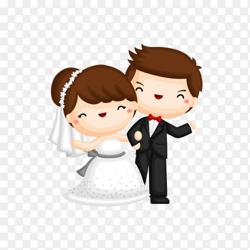 Cute Bride And Groom Couple Cartoon Character on transparent background PNG
