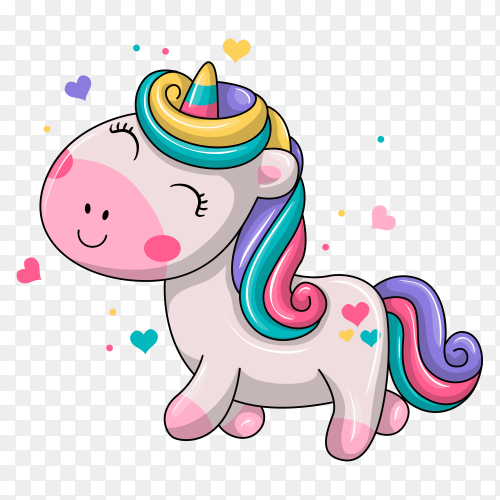 Cute baby unicorn illustration on transparent background PNG