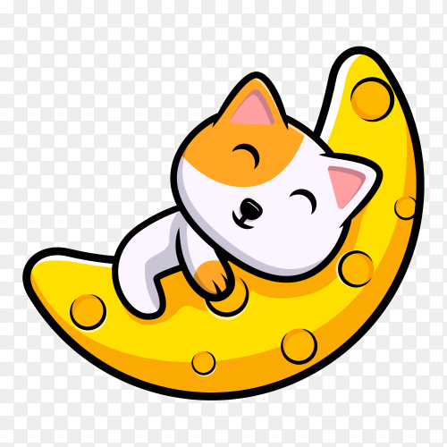 Cute cat sleeping on the moon cartoon on transparent background PNG