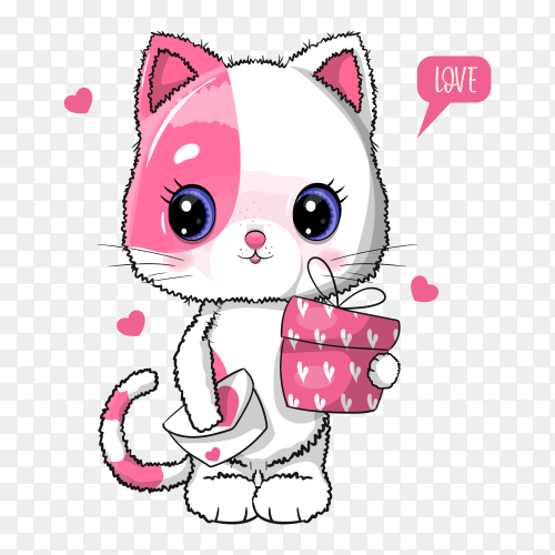 Cute cat with gift box illustration on transparent background PNG