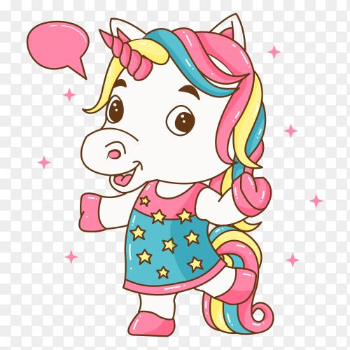 Cute little unicorn illustration on transparent background PNG