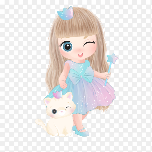 Cute princess girl on transparent background PNG