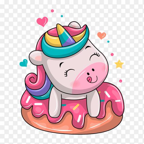 Cute unicorn sitting on dessert cartoon illustration on transparent background PNG
