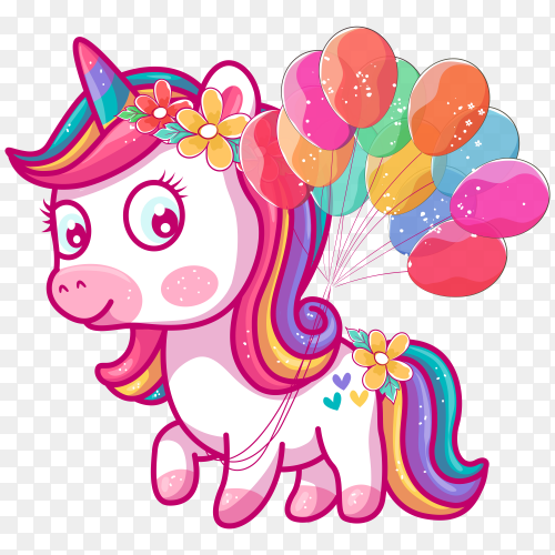 Cute unicorn with balloons on transparent background PNG