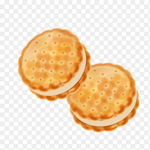Detailed sandwich cookies or crackers with cream filling on transparent background PNG