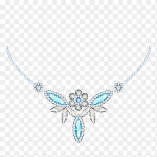 Diamond necklace on transparent background PNG