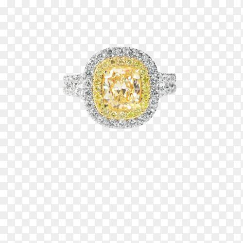 Diamond wedding ring on transparent background PNG