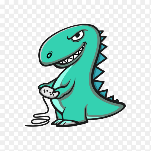 Dinosaur logo characters template on transparent background PNG