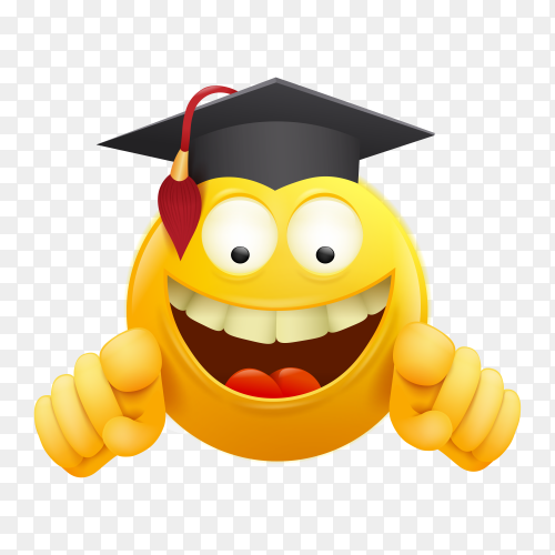 Diploma template certificate with yellow emoji smiley cartoon character on transparent background PNG