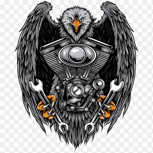 Eagle Biker isolated on transparent background PNG