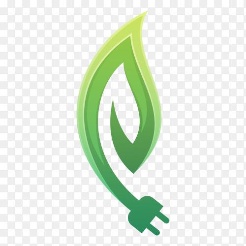 Eco electrical plug with leaf logo design on transparent background PNG