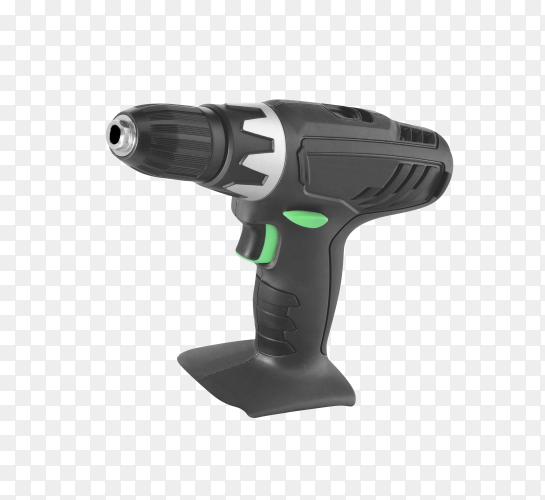 Electric screwdriver on the battery on transparent background PNG