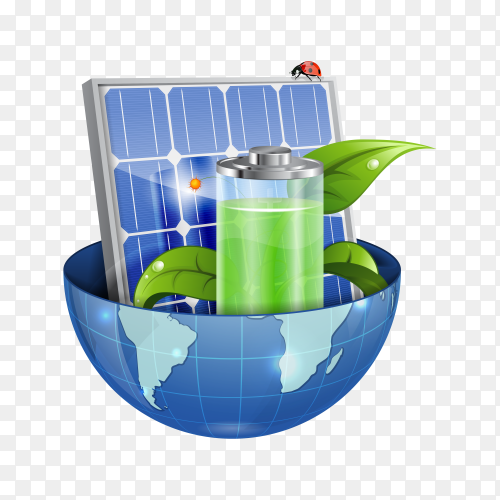 Environment Concept with Solar Panel, Young Green Sprout, Battery and Earth on transparent background PNG