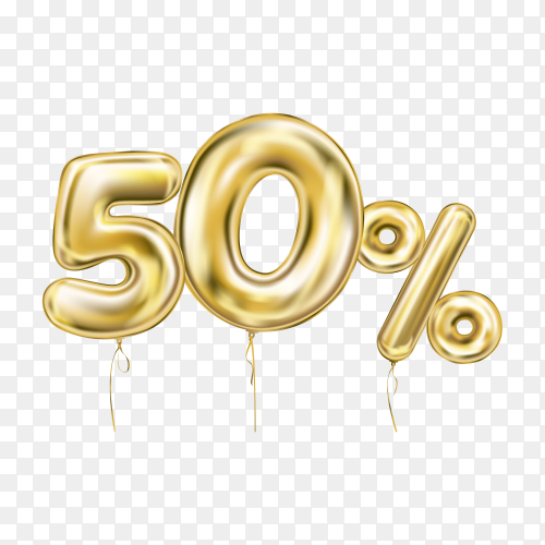 Fifty percent discount sign made of golden inflatable balloons isolated on transparent background PNG