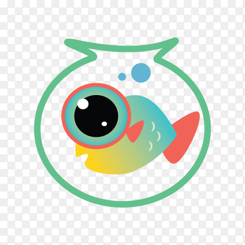 Fish Club Logo on transparent background PNG