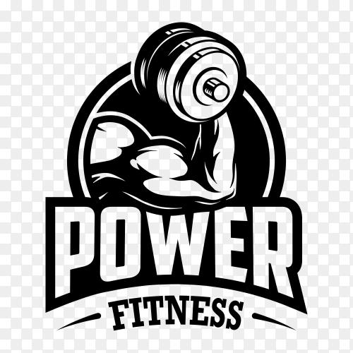 Fitness Gym logo design template on transparent background PNG