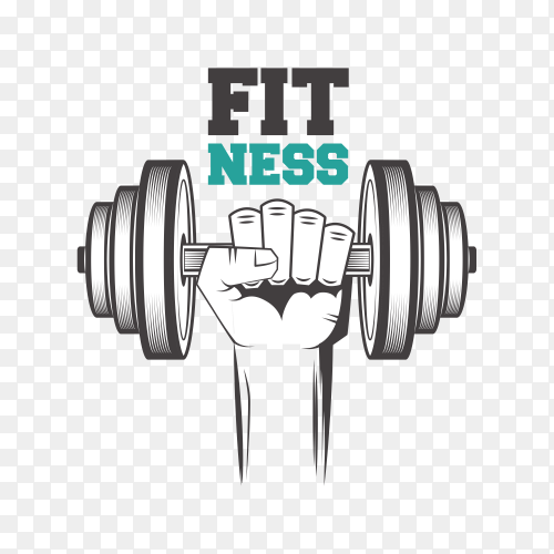 Fitness center logo design on transparent background PNG