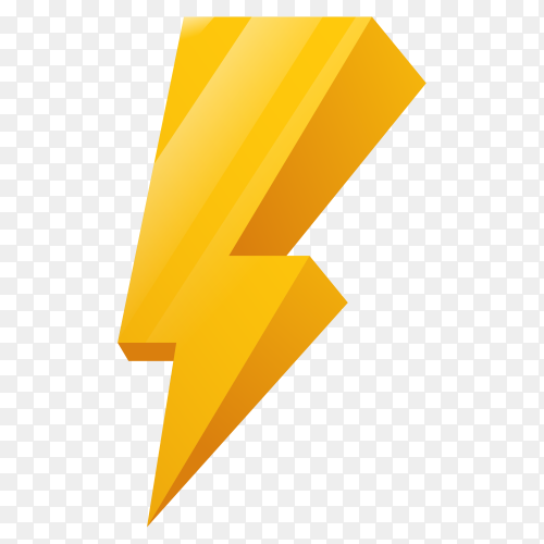 Flash 3D Icon Yellow Lightning Theme on transparent background PNG