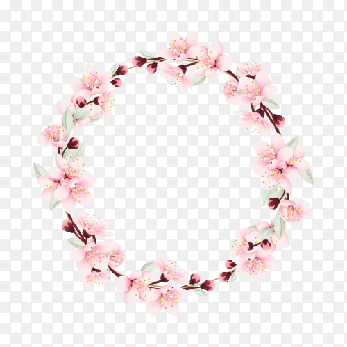 Floral frame with cherry blossoms on transparent background PNG
