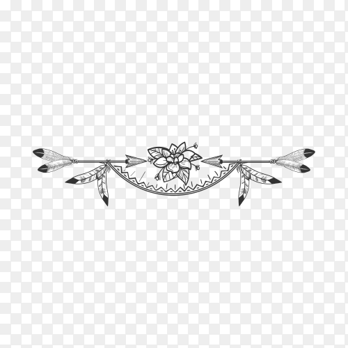 Flower and arrow boho style divider on transparent background PNG