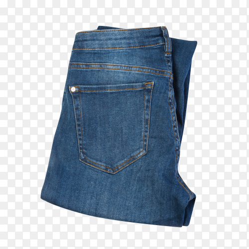 Folded blue jeans isolated on transparent background PNG