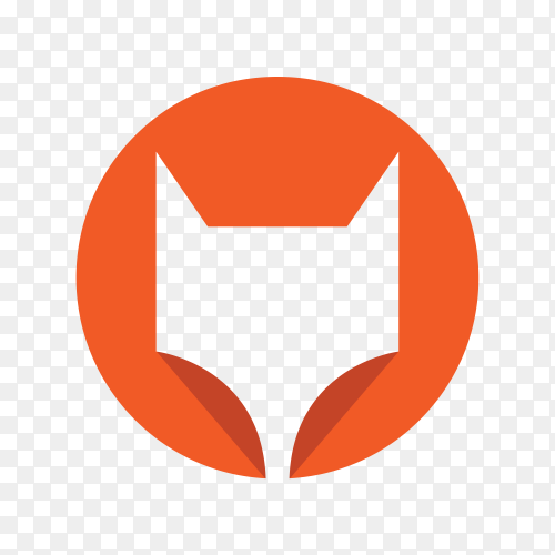 Fox logo template on transparent background PNG