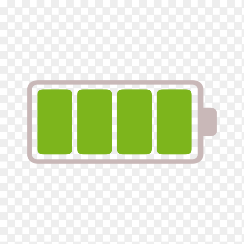 Fully charged green battery on transparent background PNG