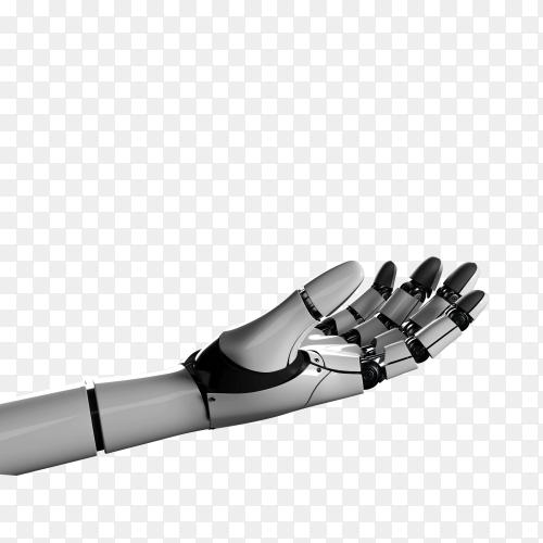 Futuristic design concept of a robotic mechanical arm on transparent background PNG