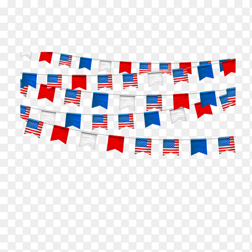 Garlands of bunting USA flags. Decorative patriotic symbols for national holidays in United States of America. banner for celebrate Independence, labor, patriot day on transparent background PNG